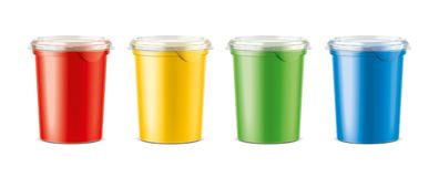Cups for dairy and other foods. Big size cups version royalty free stock photography