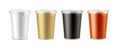 Cups for dairy and other foods Stock Image