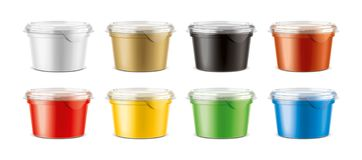 Cups for dairy and other foods. Small size cups version royalty free stock photos