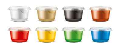 Cups for dairy and other foods. Small size cups version Royalty Free Stock Photography