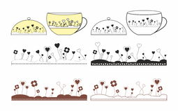 Cups and patterns for cups Stock Images