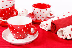Cups decoration. Red and white decoration on table Royalty Free Stock Image