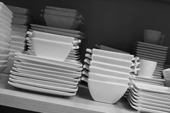 Cups, dishes and bowls stock photo