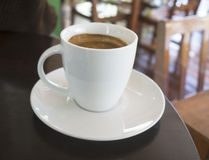 A cups of espresso on dark wood table Stock Photo