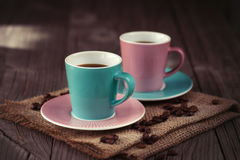 Cups of espresso on a wooden table Royalty Free Stock Photos