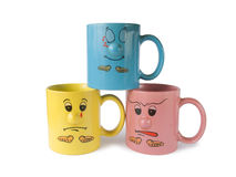 Cups with faces (emotion) Stock Photo