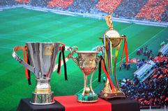 Cups FC Shakhtar Donetsk, which it won in a season Stock Photo