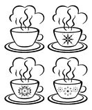 Cups with a floral pattern, outline. Set cups with a hot drink and floral pattern, black contour on white background Stock Photography