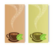 Cups of fragrant black and green tea Stock Image