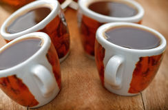 Cups with fresh coffee Royalty Free Stock Photography