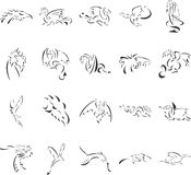 Cups and Glasses. 20 themed EPS images of dragons. The number of vector nodes is absolute minimum. The images are very easy to use and edit and are extremely Royalty Free Stock Photo