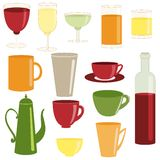 Cups and glasses collection Stock Images
