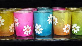 Cups. glasses. colorful cups or glasses with a floral pattern Stock Photography