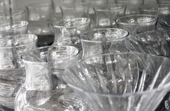 Cups and glasses made of crystal glass stock image