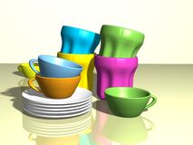 Cups, glasses and saucers. Colorful cups, glasses and saucers created in 3d Stock Photography