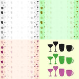 Cups and glasses set and background pattern Royalty Free Stock Photography