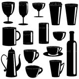 Cups and glasses silhouettes collection Stock Image