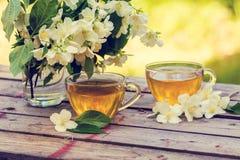 cups grön tea två Arkivbilder