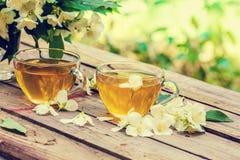 cups grön tea två Arkivfoto