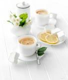 Cups of green herbal tea, jasmine flowers stock images
