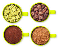 Cups with green, roasted coffee beans, ground and Stock Photography
