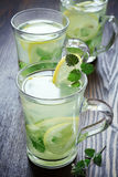 Cups of green tea with mint Stock Photo