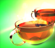 Cups of green tea Stock Photo