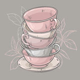 Cups on grey background. Vector illustration with cups of tea on grey background Stock Images