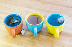Cups of healthy hot green tea Stock Photo