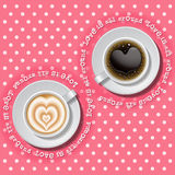2 cups of heart in coffee. Cups of heart in hot coffee on polka dot pattern Stock Photos