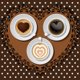 3 cups of heart in coffee. Cups of heart in coffee on polka dot pattern Stock Image
