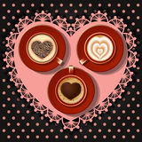 Cups of heart in coffee. On polka dot pattern Royalty Free Stock Photography