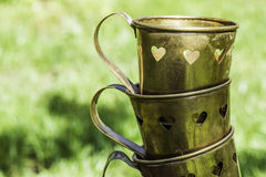 Cups with heart shapes Stock Photo