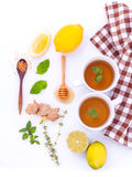 Cups of herbal  tea with aromatic herbal with lemon. Royalty Free Stock Image