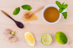 Cups of herbal  tea with aromatic herbal with lemon . Royalty Free Stock Photo