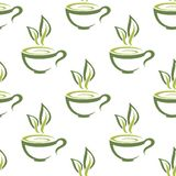 Cups of herbal tea seamless pattern Stock Images
