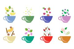Cups of herbal tea set, fruit and berry tea vector Illustrations on a white background Royalty Free Stock Photography