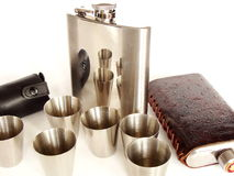 Cups and hip flasks Royalty Free Stock Photography