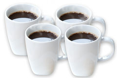 Cups of hot black coffee, isolated Royalty Free Stock Photo