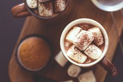 Cups with hot chocolate with marshmallow and muffins Royalty Free Stock Images