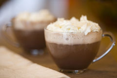 Cups of hot cocoa Stock Images