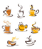Cups of hot coffee Stock Photo