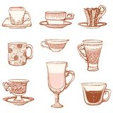 Cups icon set. Various ornate cups of tea/coffee. Isolated on white background Stock Photography