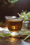 Cups of linden tea on wooden background in sunshine light Royalty Free Stock Images