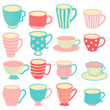 Cups. Lovely vector hand drawn set of 16 cute cups and mugs in tender colors Royalty Free Stock Photos