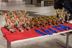 Cups and medals at the international dogs exhibition of Milan, Italy Stock Photo