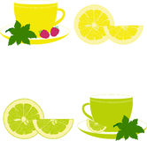 Cups with mint, lemon, lime and raspberry Royalty Free Stock Photography