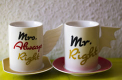 Cups for Mrs. and Mr. Right Royalty Free Stock Images