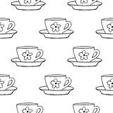 Cups mug flower pattern, seamless, tile, background hand drawn style vector doodle design illustrations vector illustration