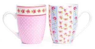 Cups mug vintage pink blue flower royalty free stock photos